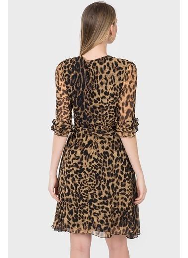 Leopar Desenli Şifon Elbise-İroni